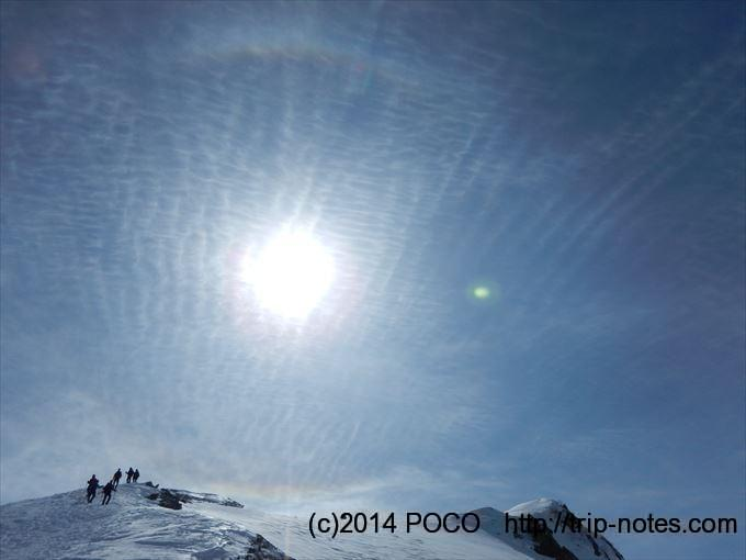 唐松岳雪山登山 彩雲