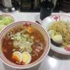 吉祥寺の蒙古タンメン中本で冷やし五目蒙古タンメン+野菜大盛+ネギ+ゆで卵