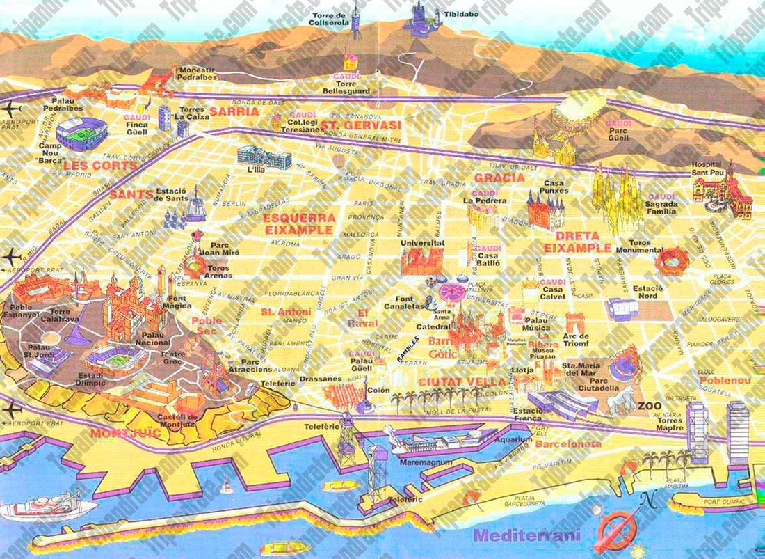Tourist map  Barcelona
