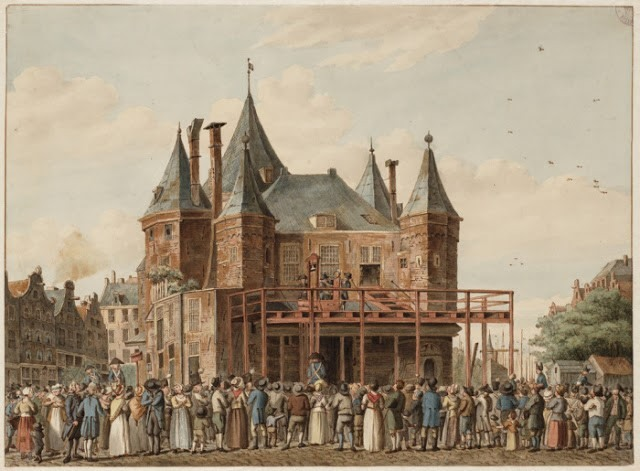 A painting of Den Waag with the guillotine