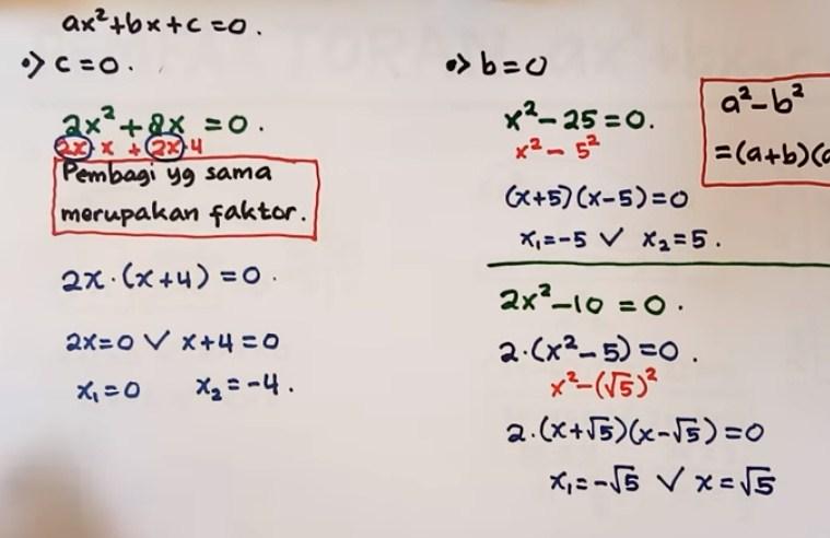 Jika diketahui persamaan kuadrat 5x2 - 45 = 0, maka ...