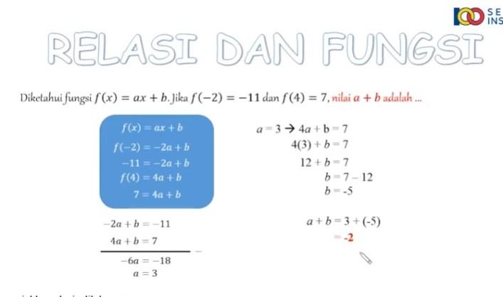 Fungsi f dinyatakan dengan rumus f(x)=ax+b. Jika f(-4) = -19 dan f(5) = 8, maka tentukan nilai a dan b