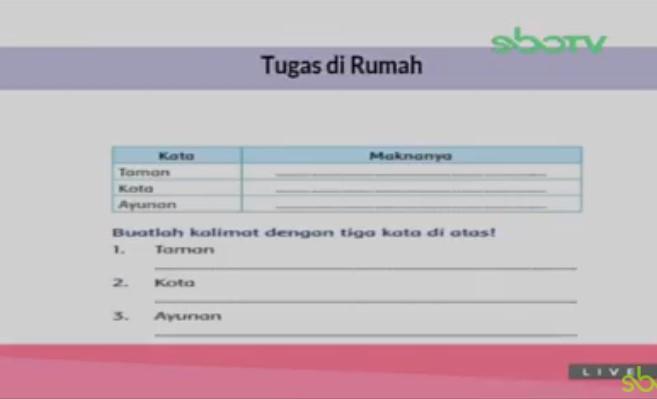 Soal dan Jawaban SBO TV 1 September SD Kelas 2
