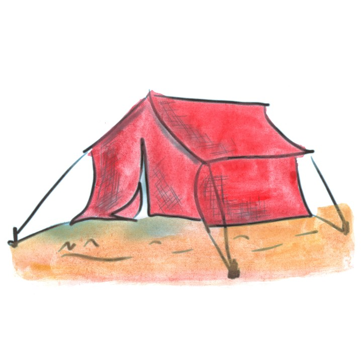 red tent cartoon watercolor isolated