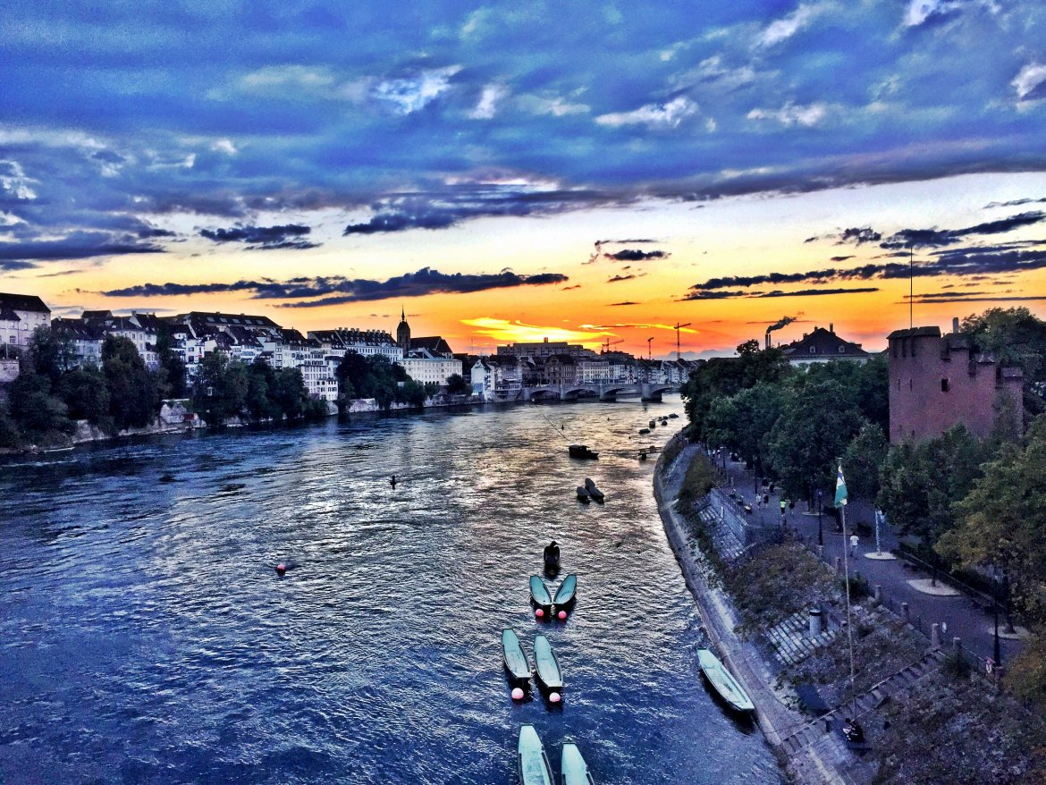 The Rhein in Basel, as seen in a sunset