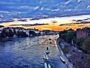 The Rhein in Basel, as seen in a sunset