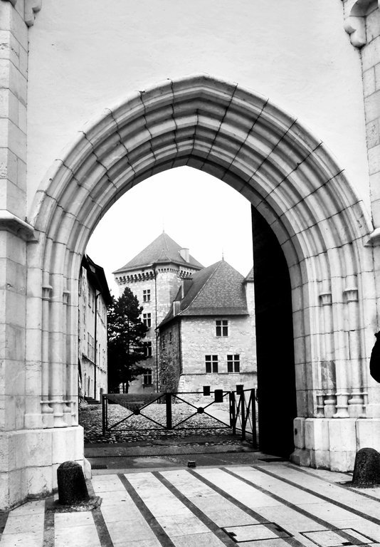 Castle Annecy as seen through its gate