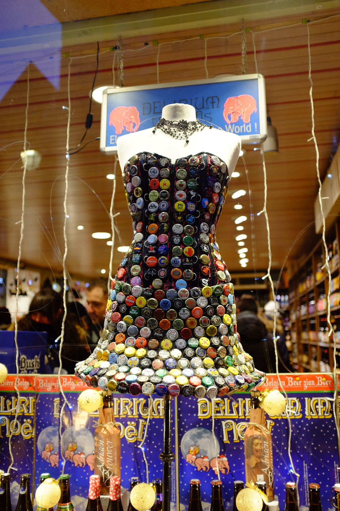Colorful dress made out of beer bottle tops 2
