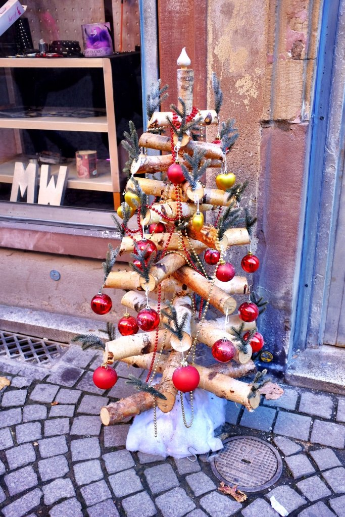 An alternative Christmas tree made out of wooden logs.Seen while we were at the Christmas Markets in Strasbourg.