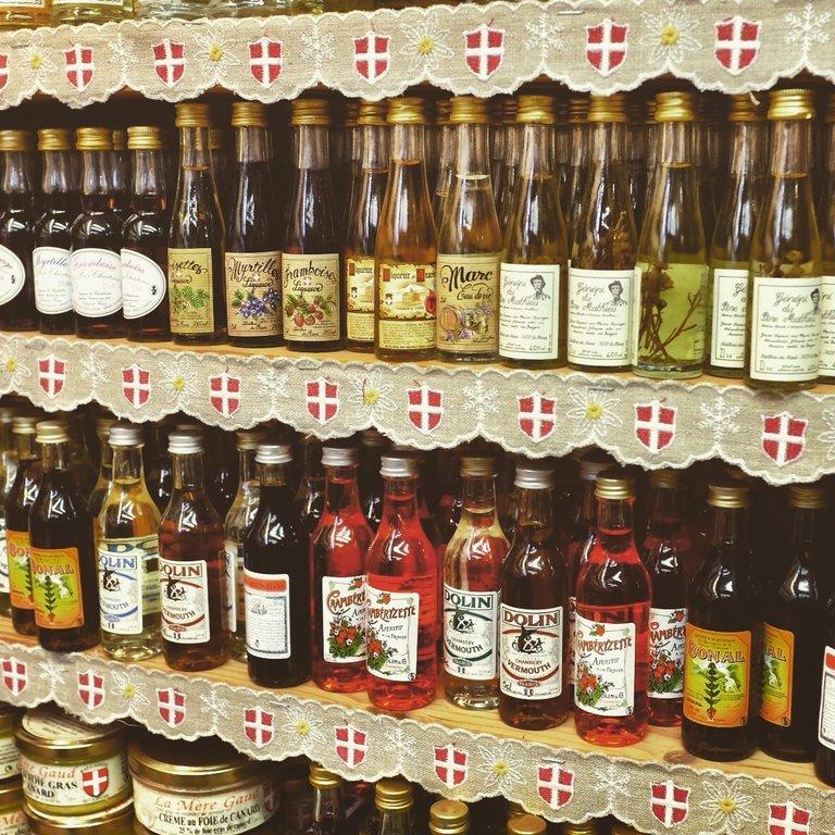 Different mini bottles of french liquors