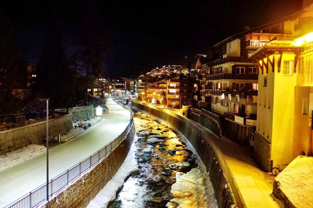 The Matter Vispa as seen in the evening/night of our arrival in Zermatt