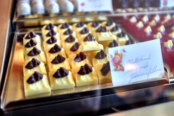 Small chocolates who look like the Matterhorn. Near Zermatt