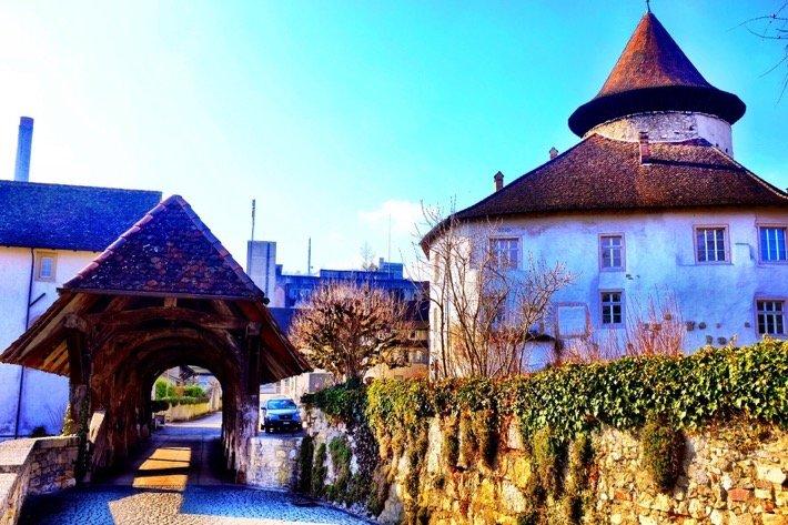 The main building and the wooden bridge of castle Zwingen