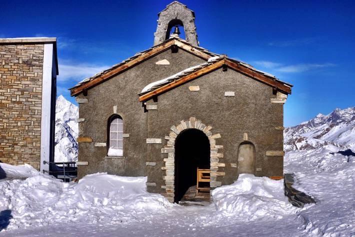Stone chapel on top of the Gornergrat in Zermatt