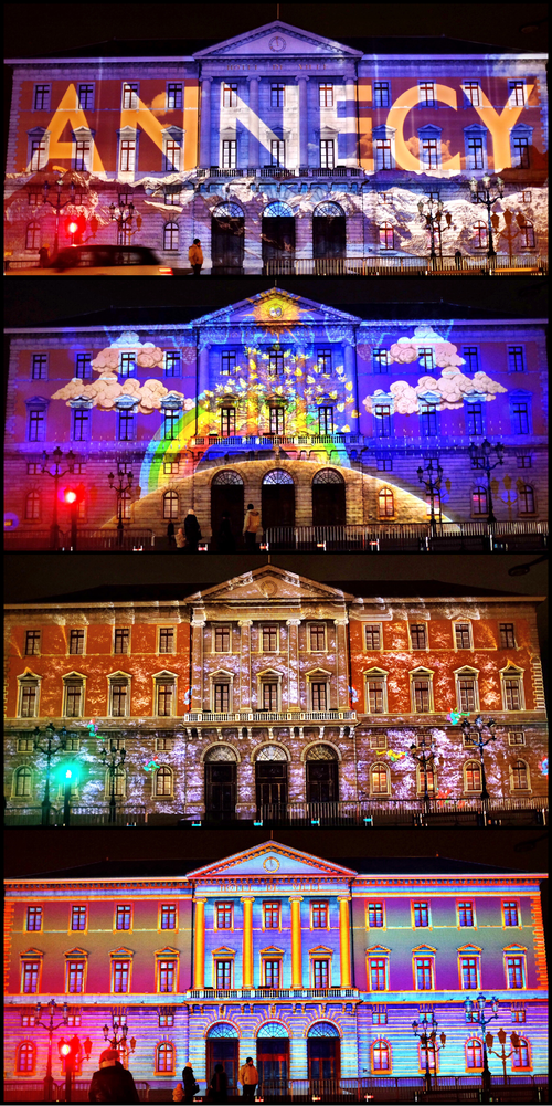 Lightshow at the facade of the Hotel de Ville in Annecy
