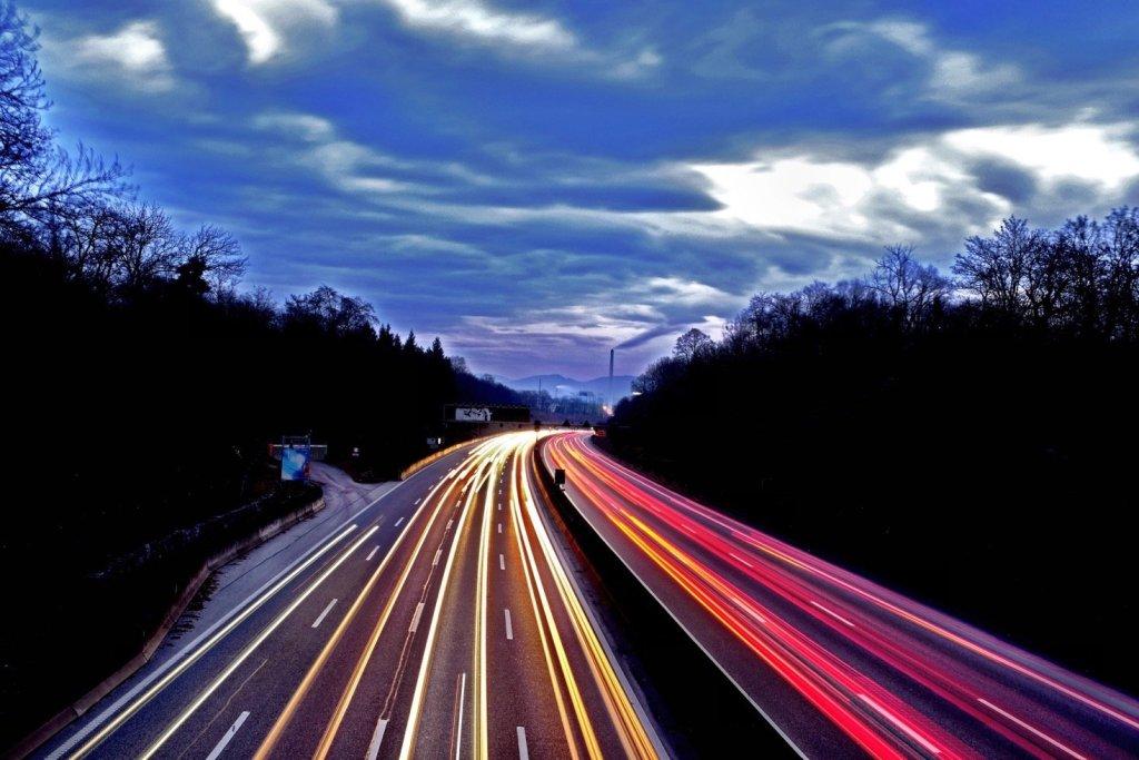 A long exposure of car lights Tom took on a bridge in Muttenz