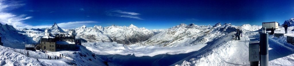 What to do in Zermatt - Panorama picture from Gornergrat with the Matterhorn and other snow covered mountains