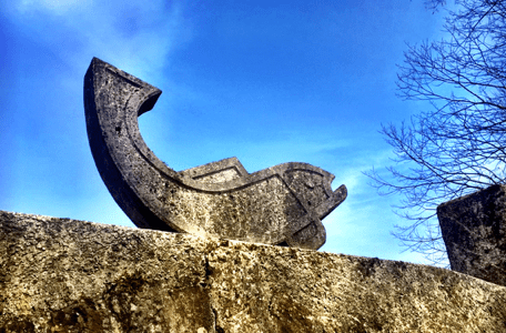 A fish made of stone, a symbol for the fishing area in Rheinfelden