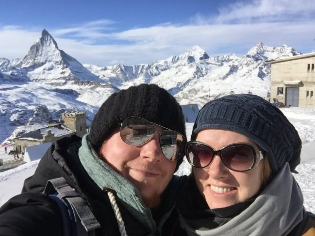 Tom and Sarah the Tripgourmets in front of the Matterhorn
