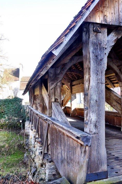 Wooden bridge at the castle Zwingen