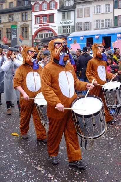 Drum playing Bulldogs at the Basler Fasnacht