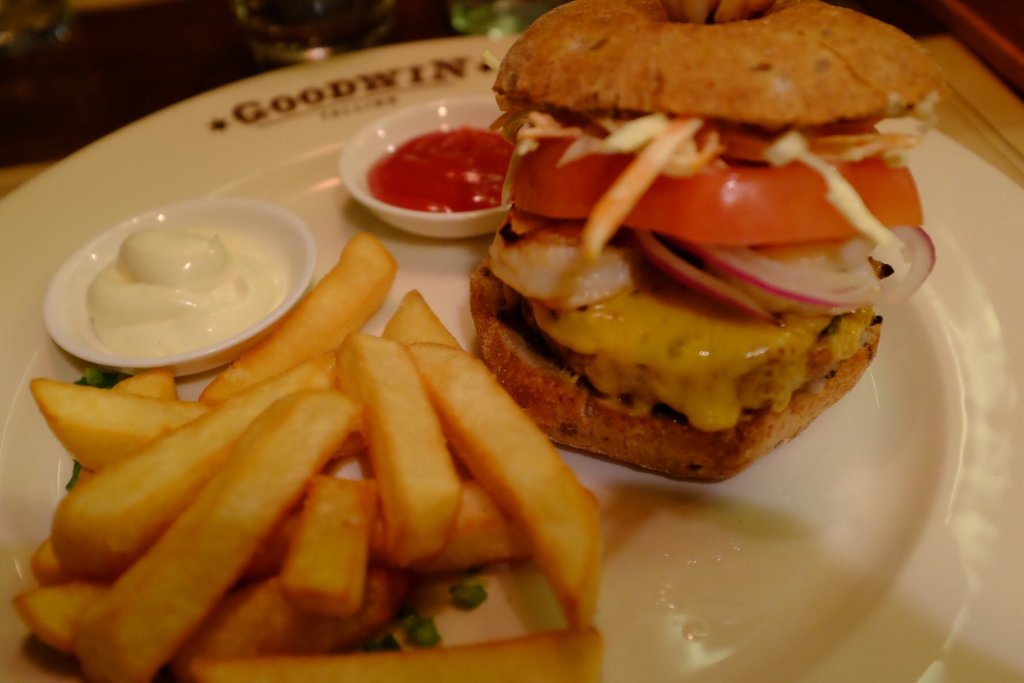 Burger with chips at Goodwin in Tallinn