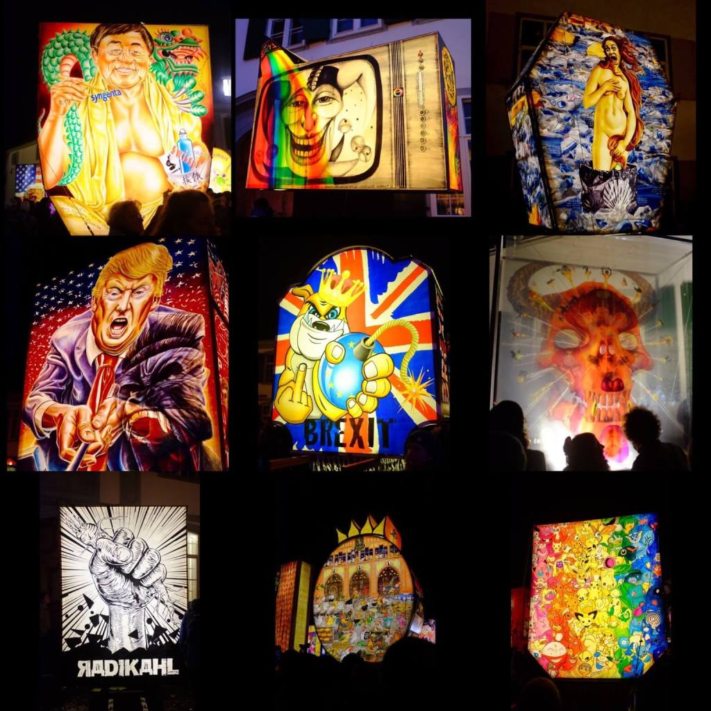 9 different lanterns from the Fasnacht Basel 2017