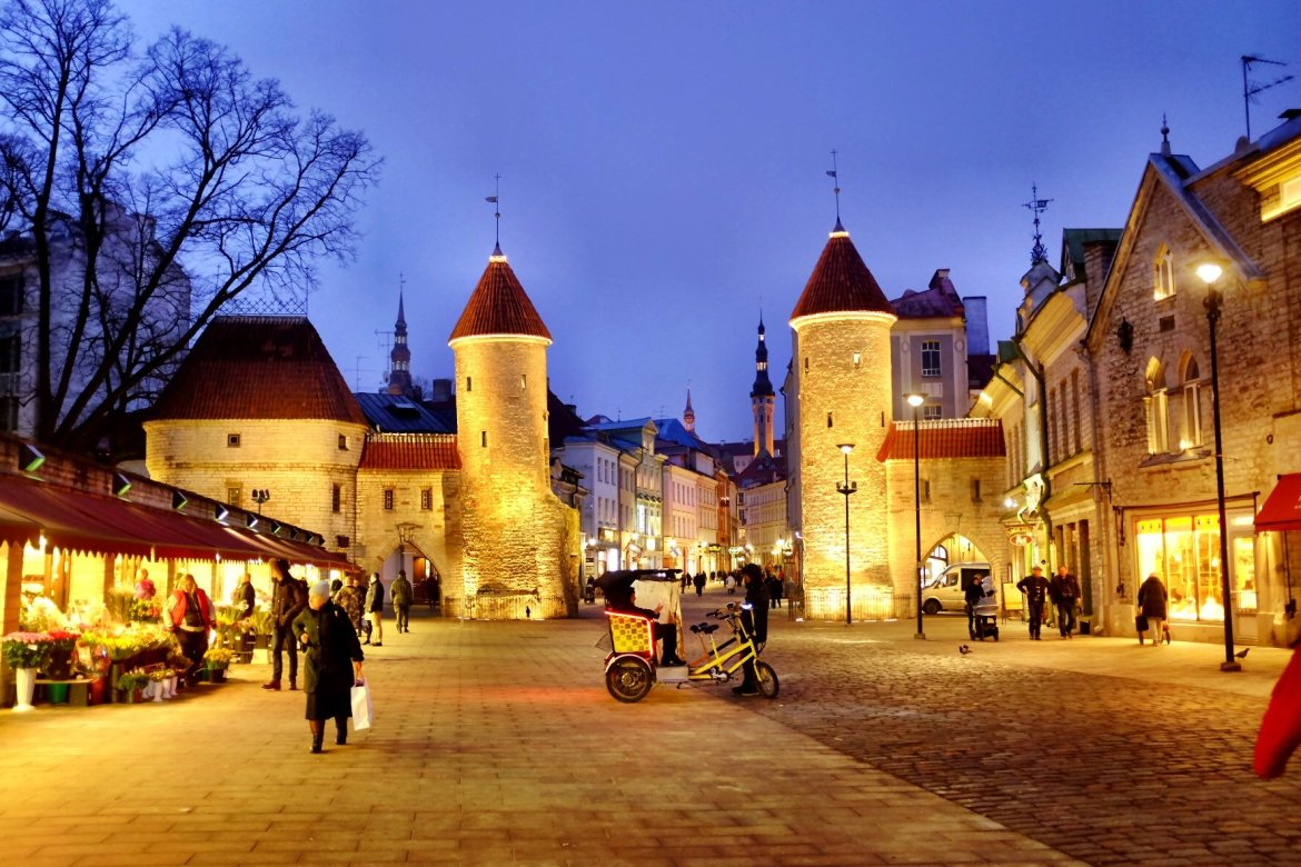 Viru gate - Entrance to Tallinn with two guard towers in the evening.