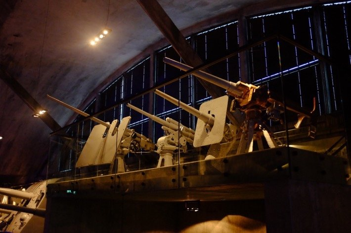 Heavy guns at the Seaplane Museum in Tallinn