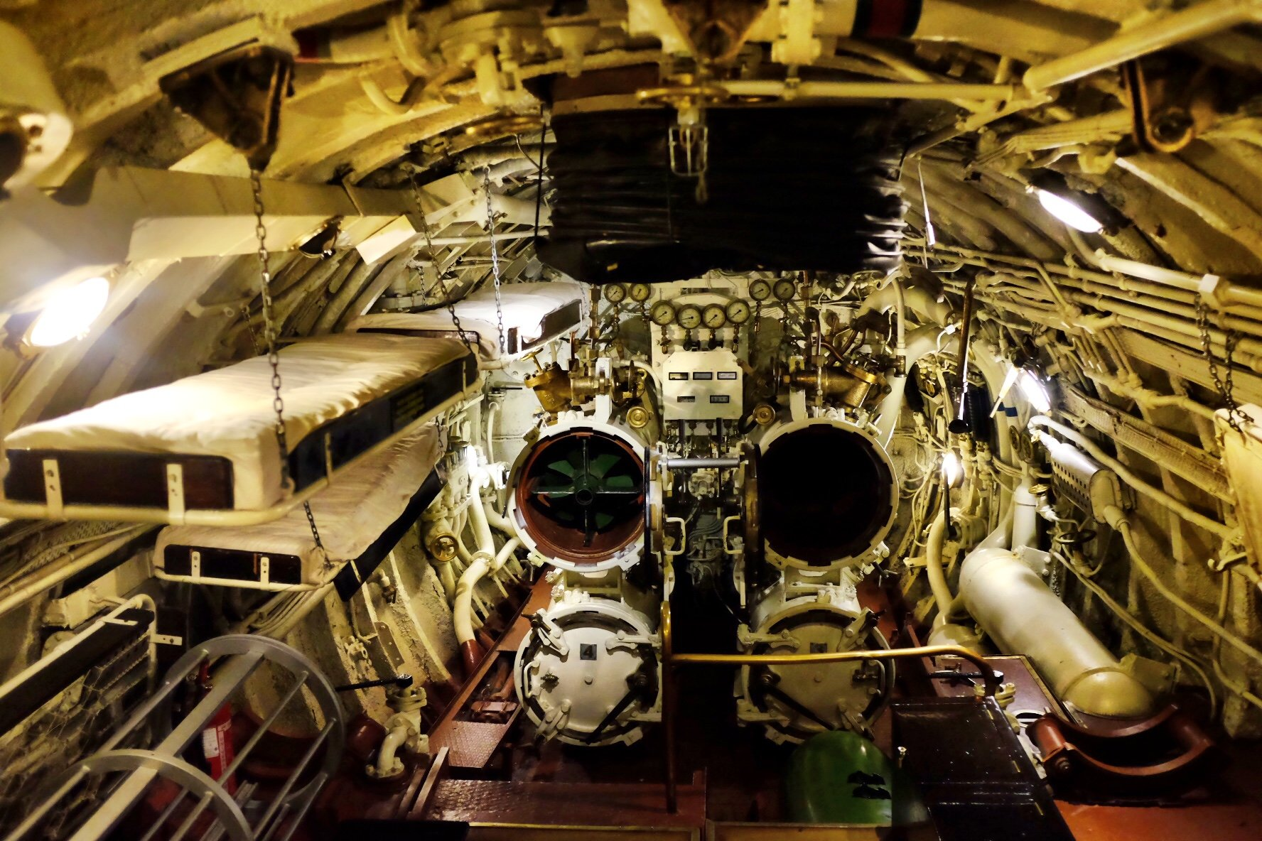 Inside the submarine which is exhibited at the Seaplane Museum in Tallinn. You see the torpedo tubes and some bunk beds