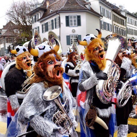 Viking costumes playing Guggenmusik at the Basel Fasnacht cortege