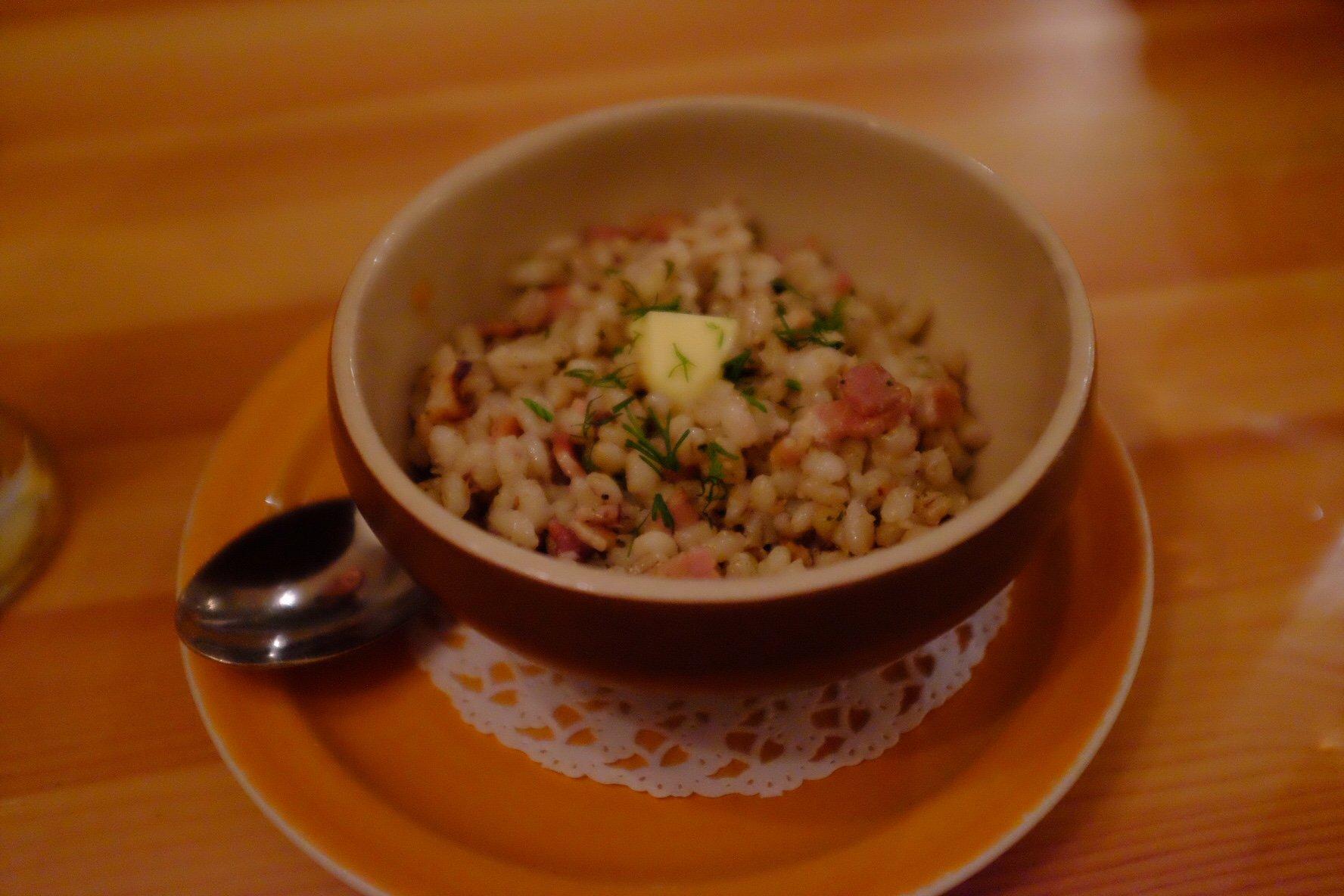Kuldse Notsu: Oven baked pearl barley. Eaten in Tallinn