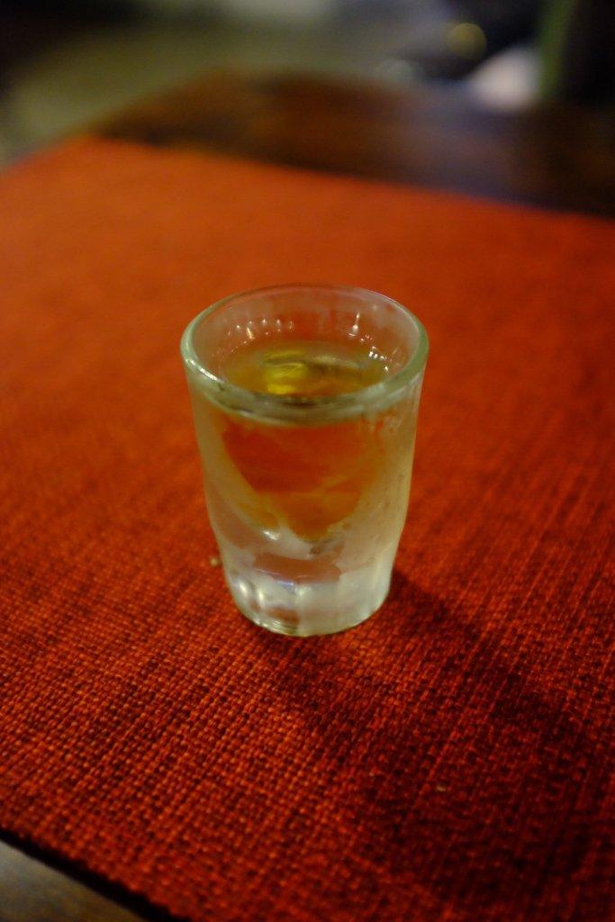 Pepper honey vodka shot Tom tried in the Peppersack in Tallinn