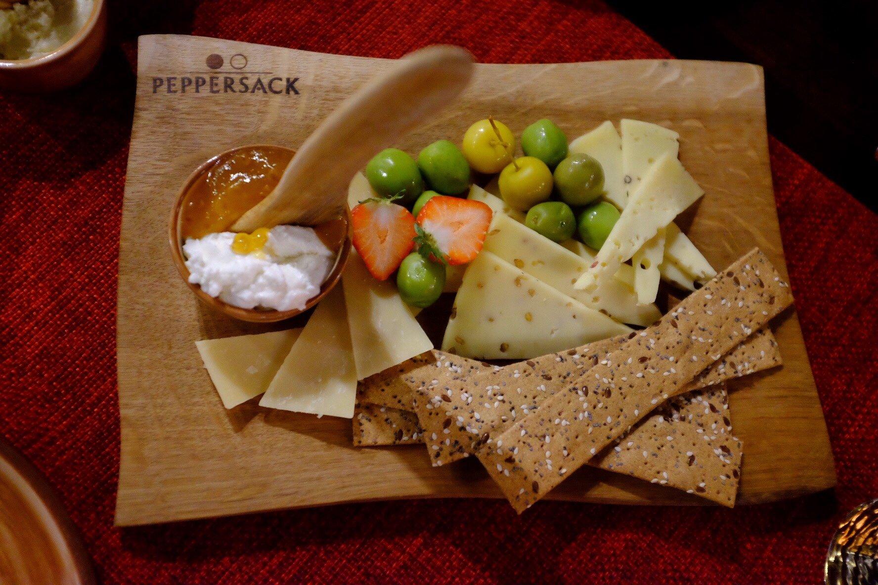Yummie cheesplate we ate at the Peppersack in Tallinn
