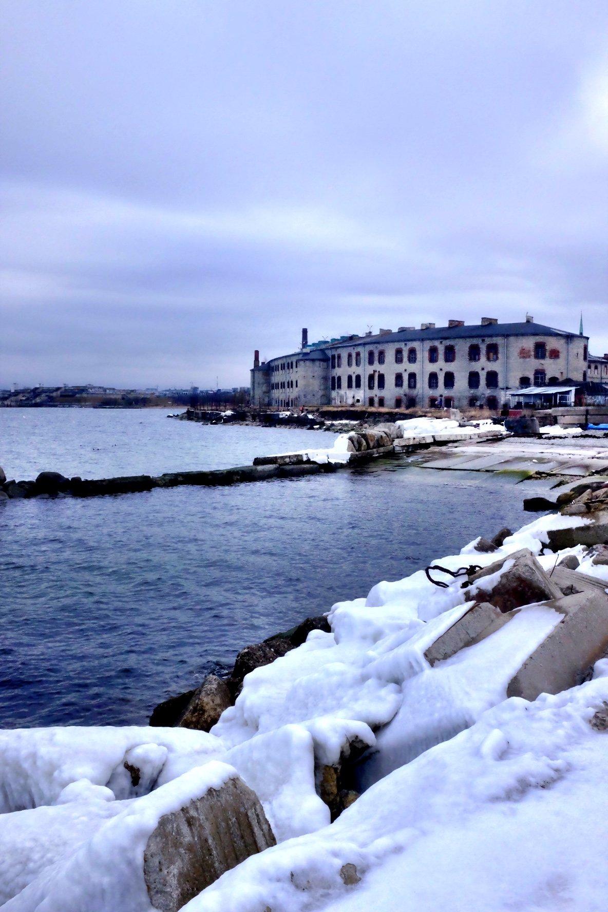 Snowy Coast at the Seaplane Museum in Tallinn