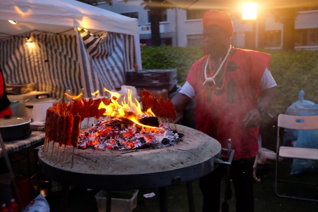 African Food at the Street Food Festival Basel comes with a spectacle