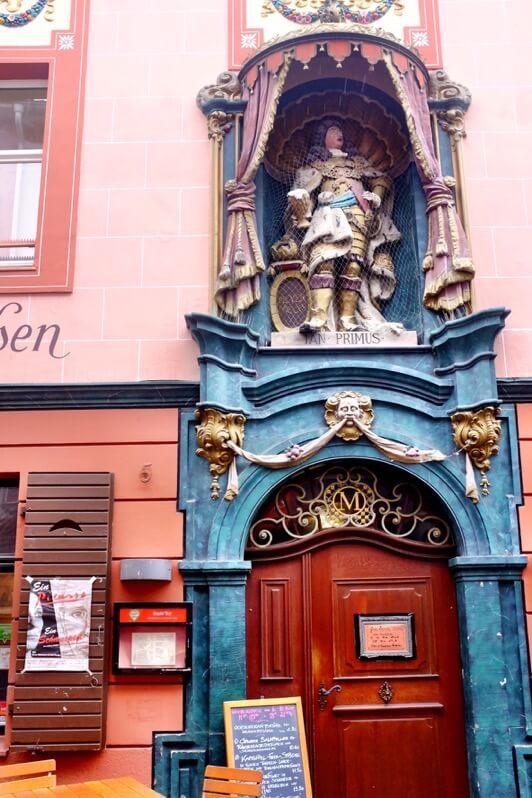Door with statue in Freiburg