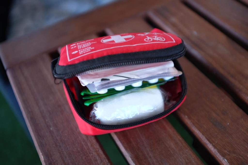 travel first aid kit - opened by Trip Gourmets