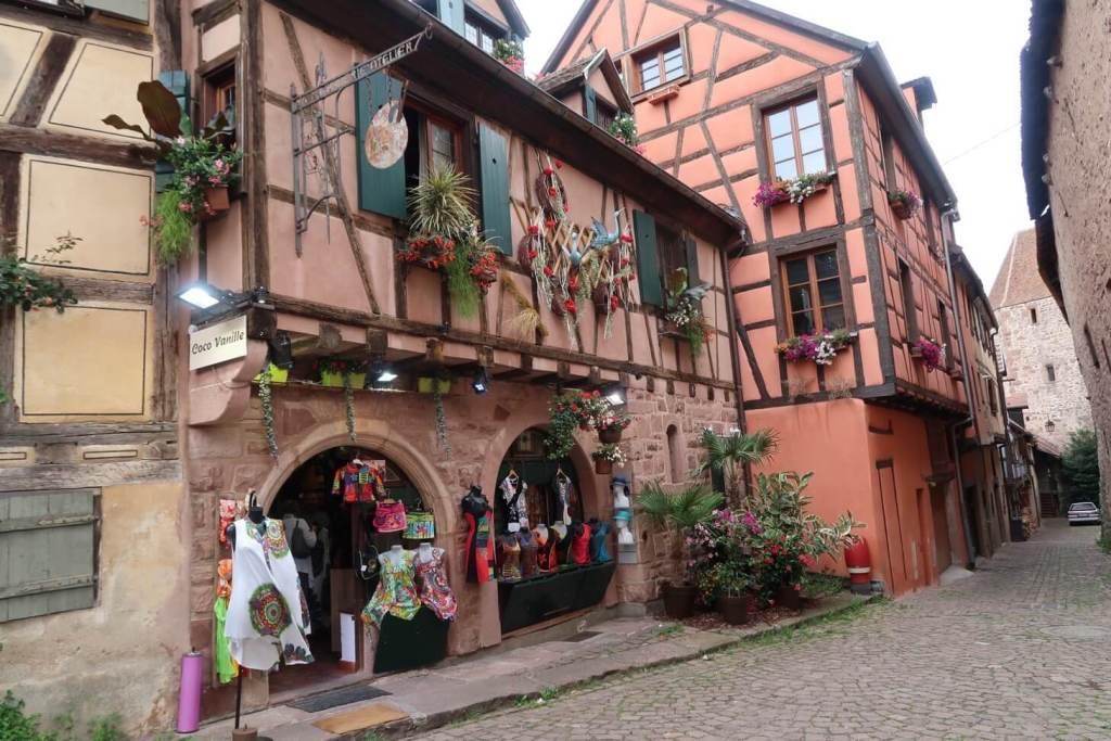 Alsace wine route - village shop in Riquewihr