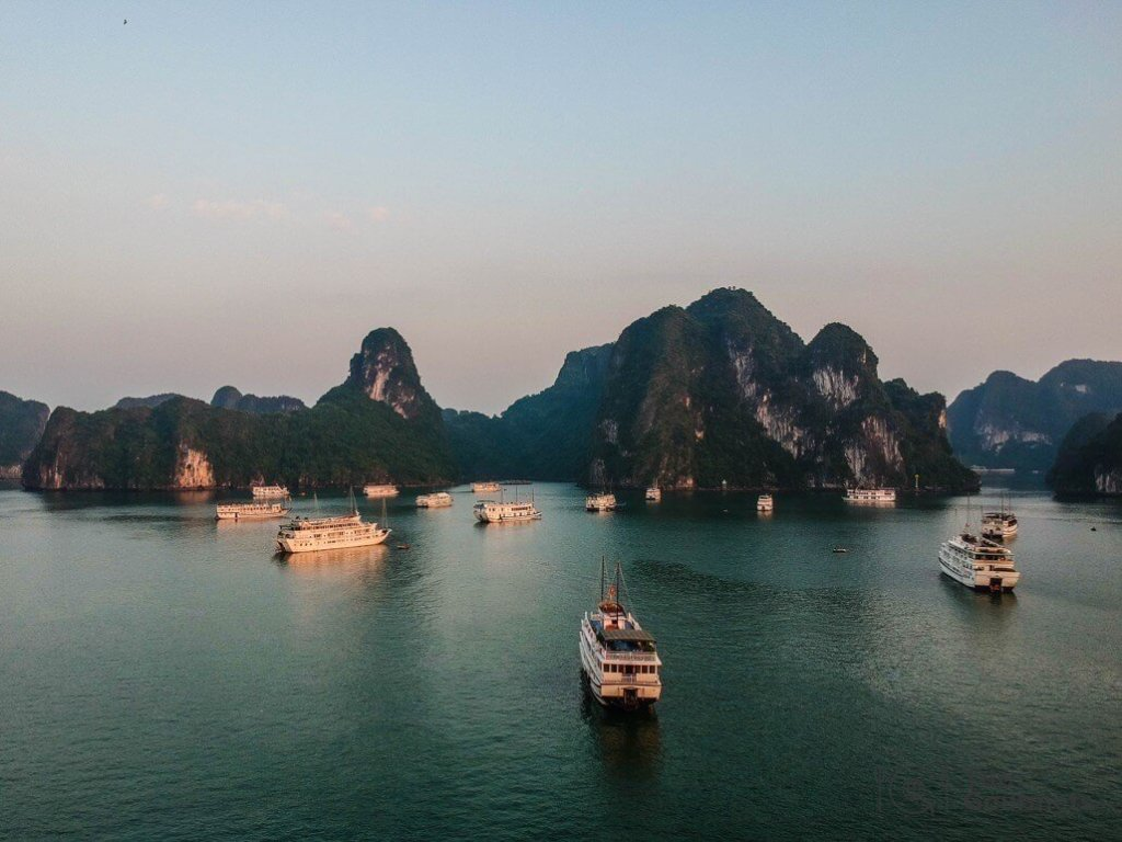 Halong bay cruise review boats leaving spark dji drone islands