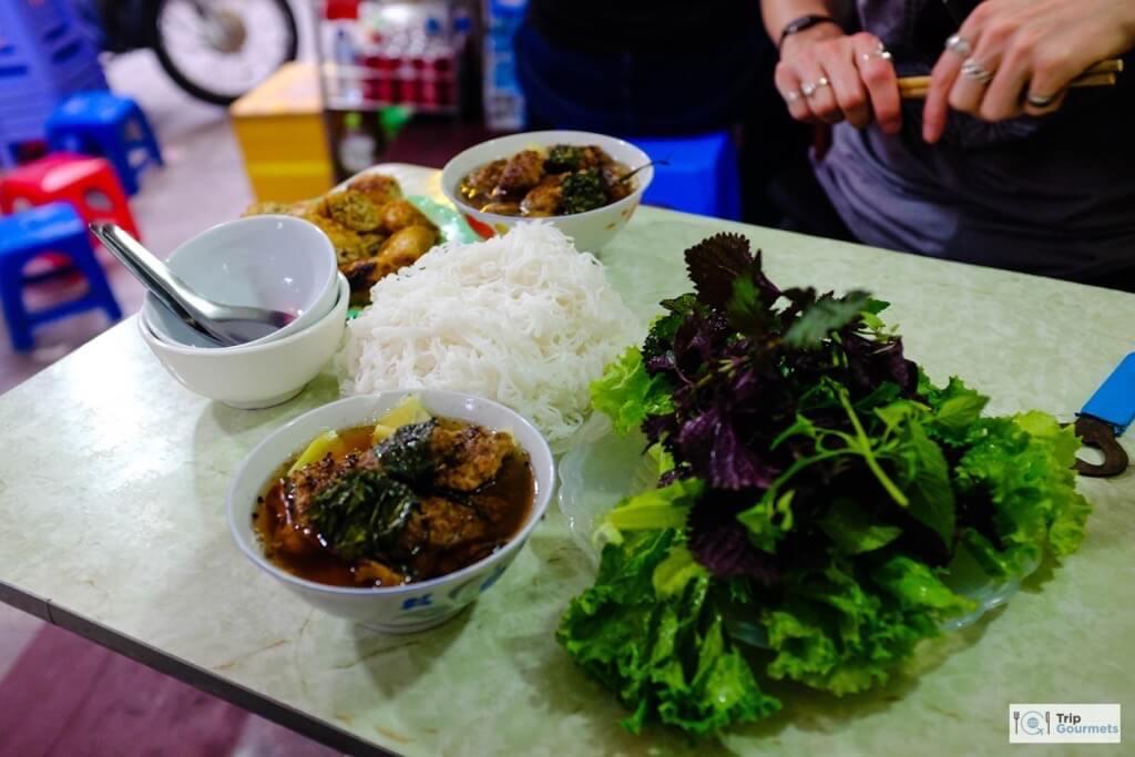 Food in Hanoi Old Quarter bun cha streetfood noodles greens