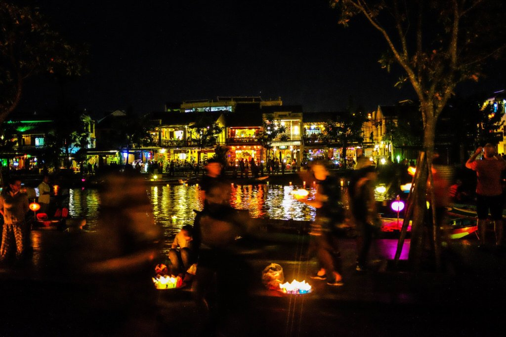 Hoi An Lantern Festival river lively people watching