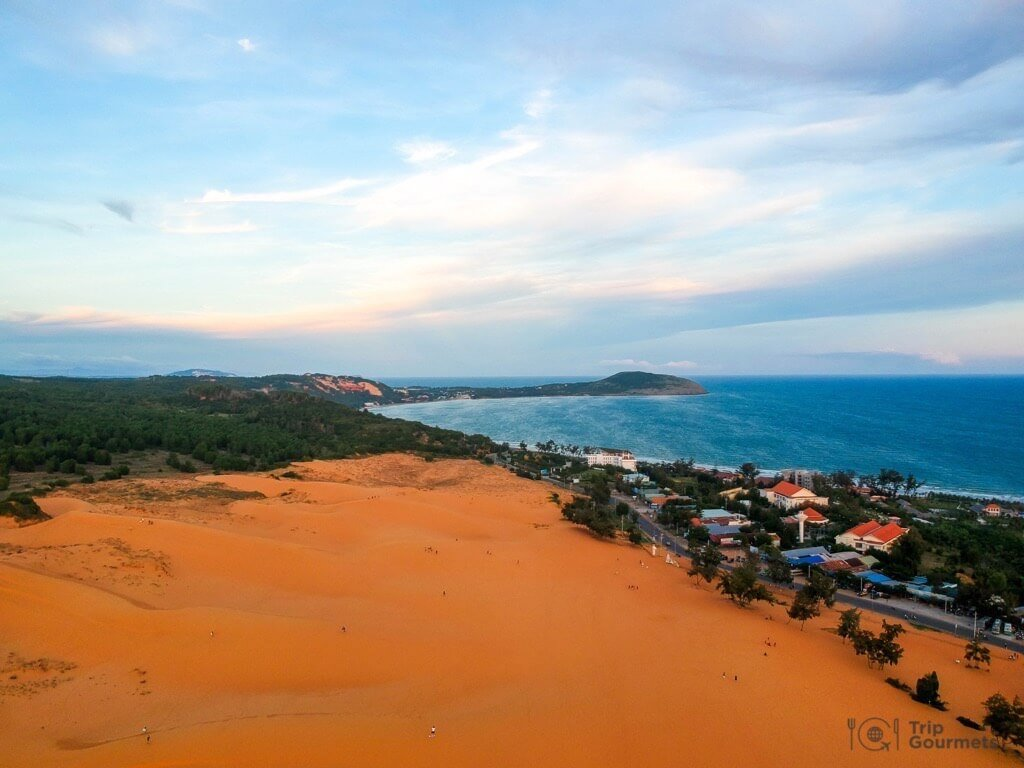 Things to do in Mui Ne Muine red dunes sea drone footage sand