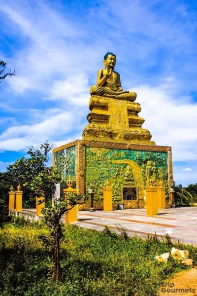 Things to do in Kampot Sampov Pram golden Buddha statue shrine