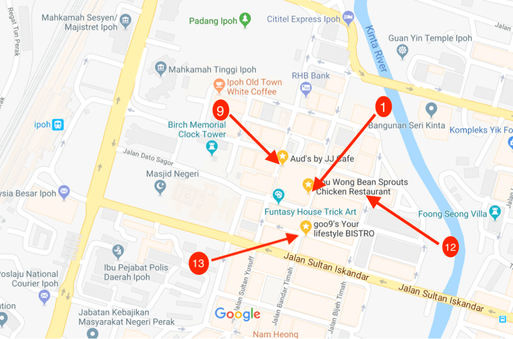 Best food in Ipoh Old Town Map