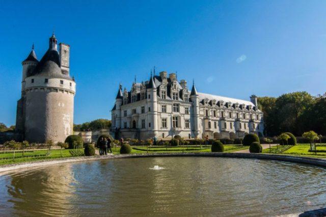 Vista de los jardines Castillo Chenonceau