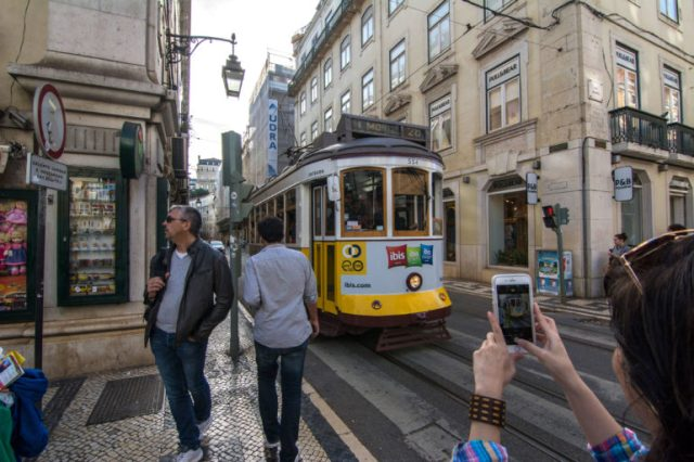 Tranvía por la Rua Augusta Lisboa