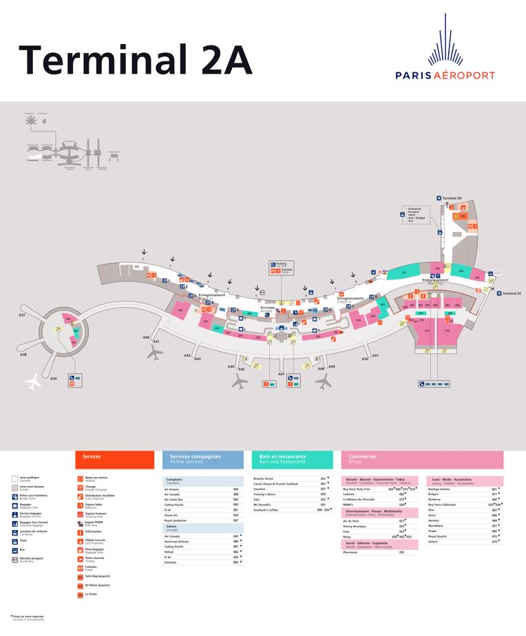 Map Of Charles De Gaul Airport : charles, airport, Charles, Gaulle(CDG), Terminal, Shops,, Restaurants,, Court, Check-In
