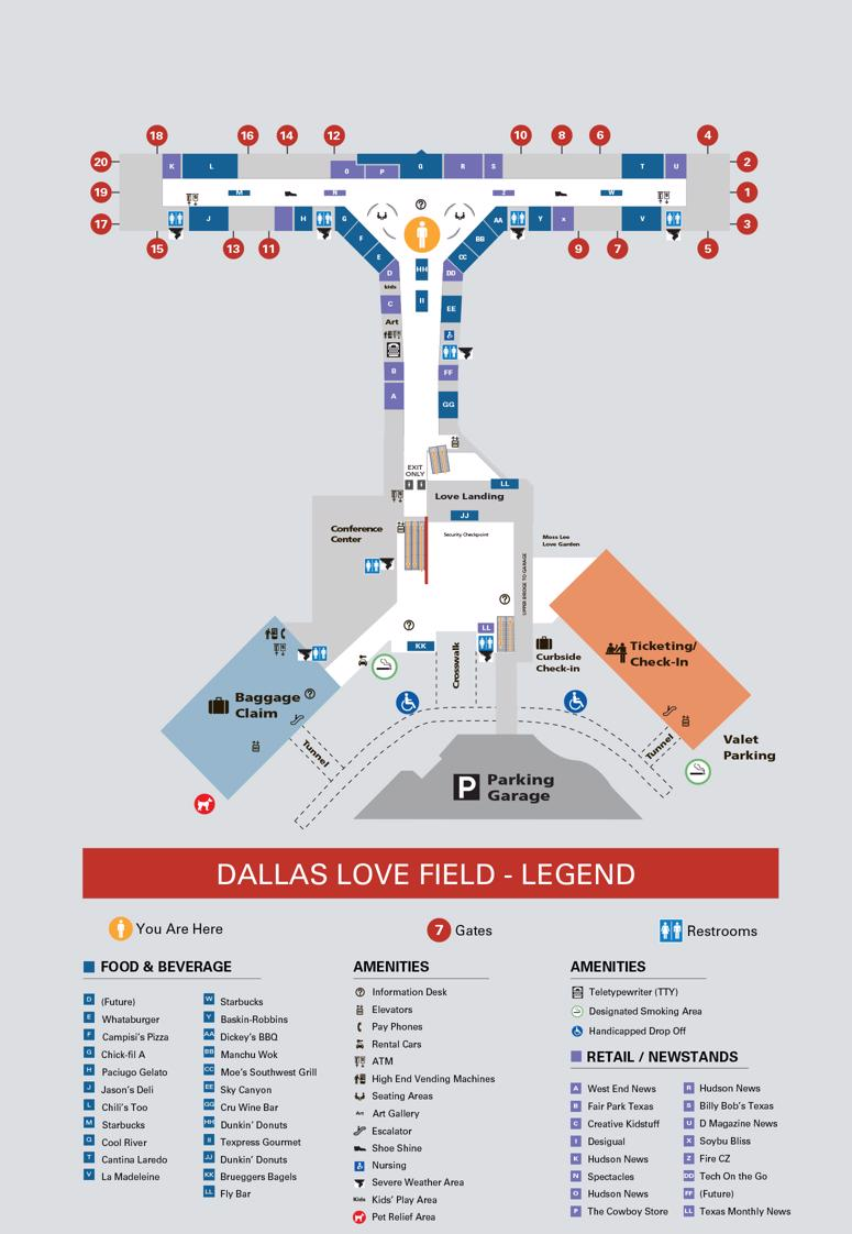 Lovefield Airport Map : lovefield, airport, Dallas, Field, Airport(DAL), Terminal, Shops,, Restaurants,, Court, Check-In