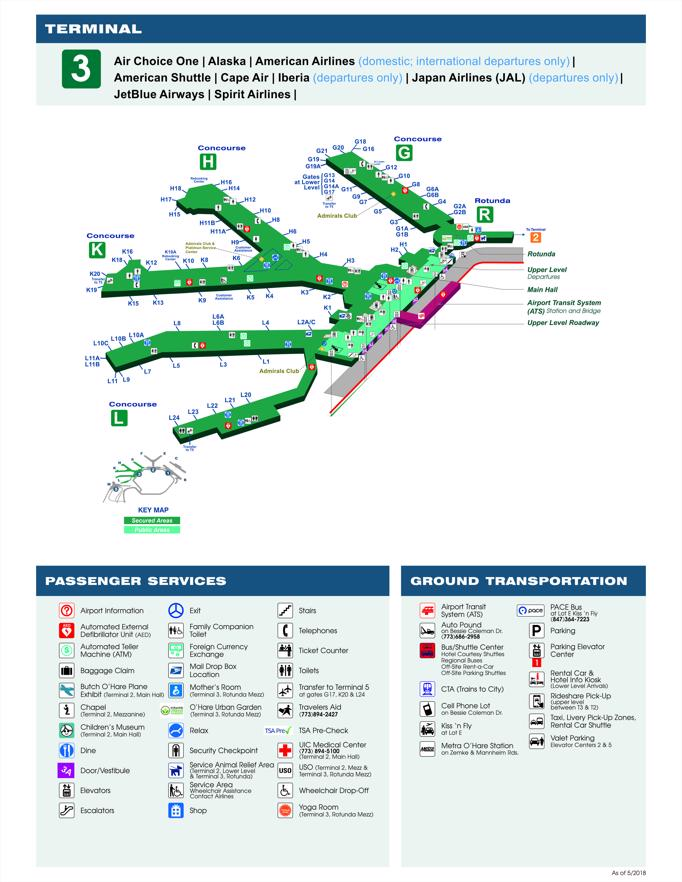 O'hare Map Terminal 3 : o'hare, terminal, Airport(ORD), Terminal, Shops,, Restaurants,, Court, Check-In